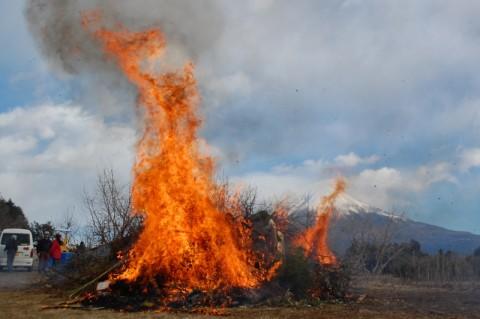 豪快に燃え上がる「どんど焼き」の炎