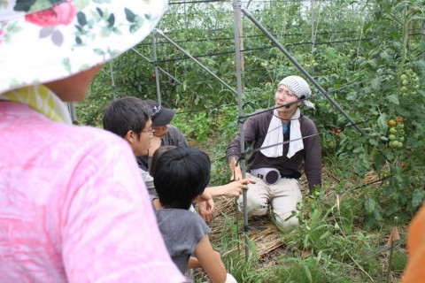 昆虫から微生物まで多種多様な生命の連鎖の中での作物作りを解説するたっちゃん