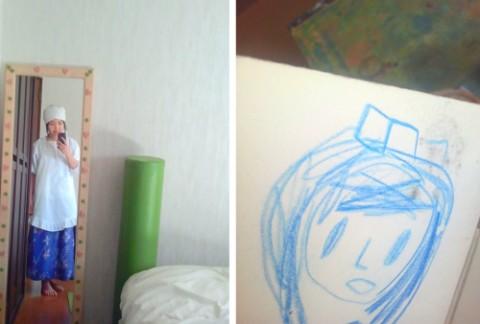 左:「恵みいただきます」で昭和の衣装を着る 右:木の花の子供が描いてくれた、私の絵