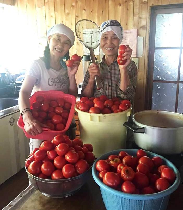 豊作のトマトを手にするあいちゃんと、富士宮から畑の応援に来たえいこばあちゃん